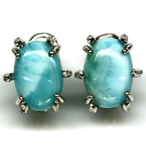NATURAL 9 X 14 mm. BLUE LARIMAR & WHITE CZ EARRINGS 925 STERLING SILVER