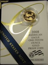 2008-W $5 Gold American Eagle Gem Proof 1/10 oz Gold Coin With Box and COA
