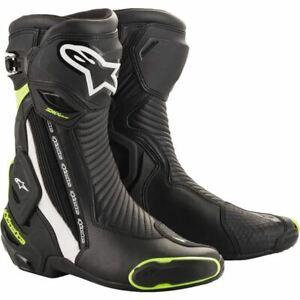 Alpinestars SMX Plus V2 Boots - Black/White/Flo Yellow, All Sizes