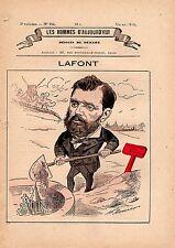 POCHOIR DE DEMARE 19ème JEAN LAFONT  JOURNALISTE HOMME POLITIQUE