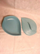 vintage california usa pottery turquoise leaf shape bowl with lid SG-20