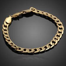 18K Yellow Gold Filled Women Men Bracelet Curb Chain Link Bangle Jewelry Luxury