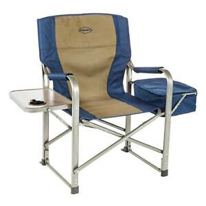 Kamp-Rite Director's Chair w/Cooler & Side Table, Navy/Tan