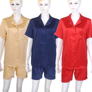 Womens 100% Mulberry Silk Pajama Sets Short Sleeve Jacket & Shorts Nighties PJ