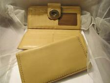 Coach Trifold Clutch Light Cream Tan Brown Checkbook Leather Wallet