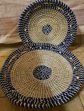 Hand Made Grass Baskets  With Beed Details,  Two Large And Medium