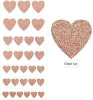 Rose Gold Glitter Love Heart Stickers - Sheet of 30 - Cute Craft Embellishments