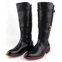Men's High Top British Patent Leather Side Zipper Buckle Knight Knee High Boots