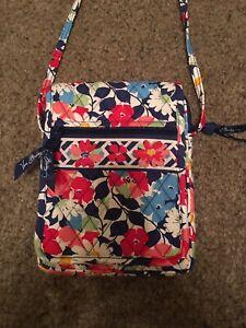 Vera Bradley Blue, White, & Red Floral Crossbody Mini Hipster Handbag/Purse NWOT