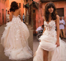 Spaghetti Wedding Dress Bridal Gowns Backless Plus Size Lace V Neck A Line Beach