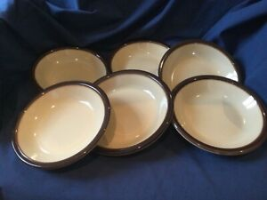 "WEDGWOOD MONTEREY 6 x RIMMED BOWLS  ( 1 LARGE 8"" +5 SMALLER 7.25"") OVEN TO TABLE"