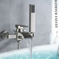 Wall Mounted Tub Filler Bathtub Faucet with Hand Shower Brushed Nickel Mixer Tap