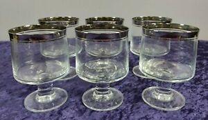 Set of 6 vintage Thomas water glass, West Germany, with platinum rim