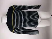 Banana Republic Mens sz M Blue Striped Crew Neck Long Sleeve Basic Tee T-Shirt