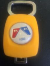 Vintage Yellow FORD Retro 1970's Keychain Key ring Fob