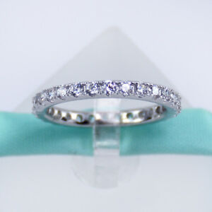 925 Sterling Silver White Cubic Zirconia CZ Crystal Women Eternity Band Wedding