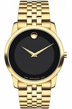 NEW Movado Museum Classic Swiss Sapphire Black Dial Gold Tone Mens Watch 0606997