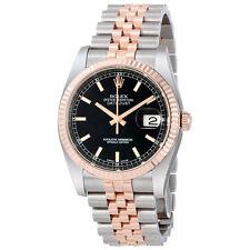 Rolex Datejust Black Stick Dial Fluted 18k Rose Gold Bezel Jubilee Bracelet Mens