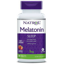 NATROL Melatonin 3 mg Fast Dissolve Aid For Occasional Sleeplessness 90 Tablets
