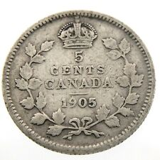 1905 Canada 5 Cents Small Silver Circulated Edward VII Five Cents Coin P429