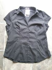 BNWT Women's Black Cap Sleeve Stretch Cotton Shirt/Blouse Size 16