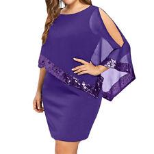 PLUS SIZE Women Ladies Bodycon Lace Dress Party 3/4 Sleeves Cocktail Mini Dress