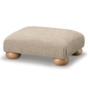 Biagi Upholstery & Design Champagne Low Footstool with Solid Wood Bun Feet