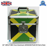 "1 X NEO Flight DJ Carry Case to Hold 100 LP 12"" Vinyl Record JAMAICAN FLAG TOUGH"