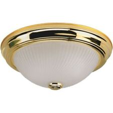 Home Impressions 11 In. Polished Brass Flush Mount Ceiling Light Fixture