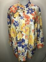 Alfred Dunner 20W 1X 2X Hibiscus Floral 3/4 Sleeve Top Blouse Plus Size