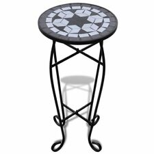 Mosaic Garden Patio Side Coffee Table Plant Stand Home Balcony Decor Black White