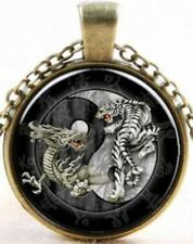 Handcrafted YIN YANG White Tiger TAIJI Dragon DUEL Bronze Necklace USA SELLER