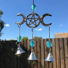 NEW TRIPLE MOON PENTAGRAM WIND CHIME METAL DECORATIVE WALL HANGING GARDEN HOME