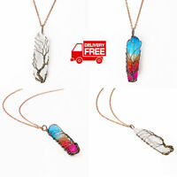 Clear Rainbow Crystal Tree Of Life Chakra Pendant Bronze Wire Wrap Necklace Sd