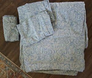 RESTORATION HARDWARE Paisley Blue Queen Duvet Cover Italy w/ 3 Pillow Shams