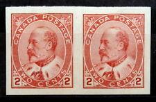 CANADA - King Edward VII :1903-08, Mint Imperf Type II, Scott #90 (Pair)