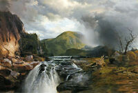 """Oil art Thomas Moran - The Wilds of Lake Superior landscape with waterfall 36"""""""