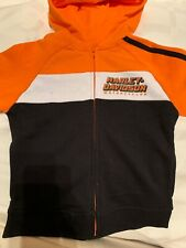 NWT Harley Davison Sweatshirt Orange Black 4T Boys NEW Hoodie Zip-up