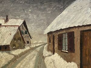 FERNAND AUDET (1923-2016) SIGNED FRENCH IMPRESSIONIST OIL - WINTER SNOW SCENE