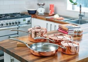 4 Piece State of the Art Copper Pan Set Frying Pan Saucepan French Steel