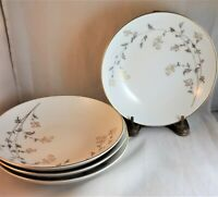 Andrea Noritake Coupe Soup Bowls (Set of 4) #5524 Gold Silver Metallic Floral