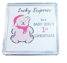 Baby Girl First 1st Christmas Stocking Filler Gift Lucky Sixpence Cased Keepsake