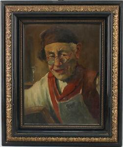 99860215 Gemälde Franz Absmaier Bildnis eines Schusters München 1.H.20.Jh. 48x40
