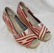Toms Canvas Shoes Size 6 Wide  Wedge Peep Toe Slip On Heels Women's Red Aztec