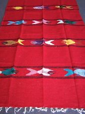 Genuine bright red Mexican fish floor rug large size blanket throw yoga mat