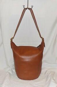 Coach Duffle Bucket Bag Saddle Brown Soft Leather Gold Hardware #M1193-17998 VTG
