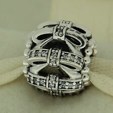 Authentic Pandora 791779CZ Shimmering Sentiments CZ Ribbons Christmas Bead Charm