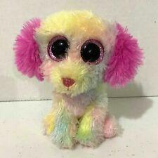 "Ty Lovesy Beanbag Plush Dog Beanie Boos 6"" Rainbow Pink Glitter Eyes Justice"