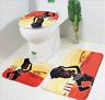 3Pcs Set Bathroom Carpet Non-Slip Pedestal Rug+Lid Toilet Cover+Bath Mat Decor
