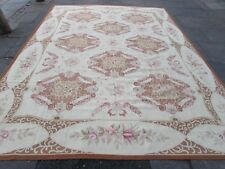 Old Hand Made French Design Wool Beige Brown Original Aubusson 371X274cm